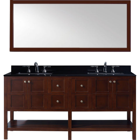"Winterfell 72"" Double Bathroom Vanity in Cherry w/ Granite Top & Square Sink"