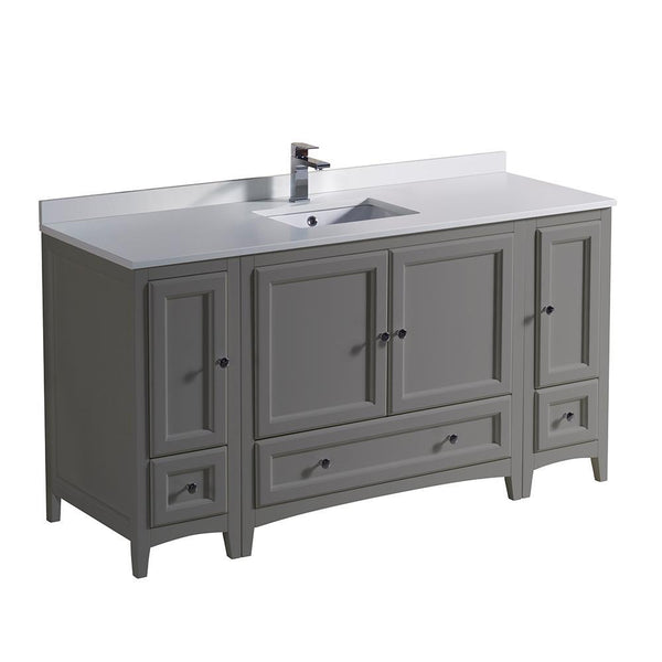 "Fresca Oxford 60"" Gray Traditional Bathroom Cabinets w/ Top & Sink"