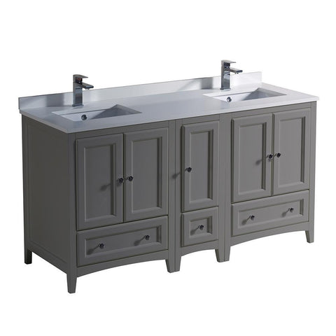 "Fresca Oxford 60"" Gray Traditional Double Sink Bathroom Cabinets w/ Top & Sinks"