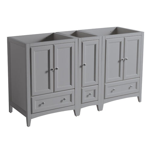 "Fresca Oxford 60"" Gray Traditional Double Sink Bathroom Cabinets"