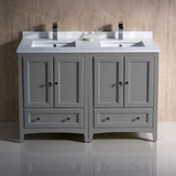"Fresca Oxford 48"" Traditional Double Sink Bathroom Cabinets w/ Top & Sinks"