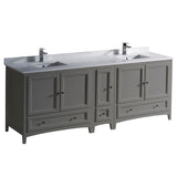 "Fresca Oxford 84"" Traditional Double Sink Bathroom Cabinets w/ Top & Sinks"