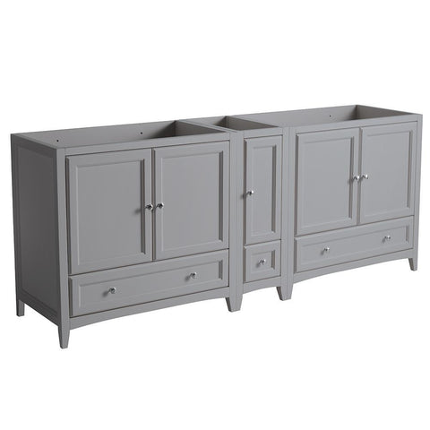 "Fresca Oxford 83"" Gray Traditional Double Sink Bathroom Cabinets"