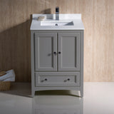 "Fresca Oxford 24"" Traditional Bathroom Cabinet w/ Top & Sinks"