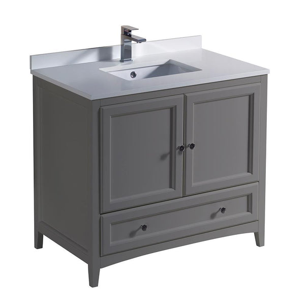 "Fresca Oxford 36"" Gray Traditional Bathroom Cabinet w/ Top & Sink"