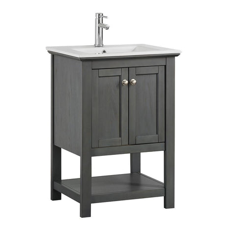 "Fresca Manchester Regal 24"" Gray Wood Veneer Traditional Bathroom Vanity"