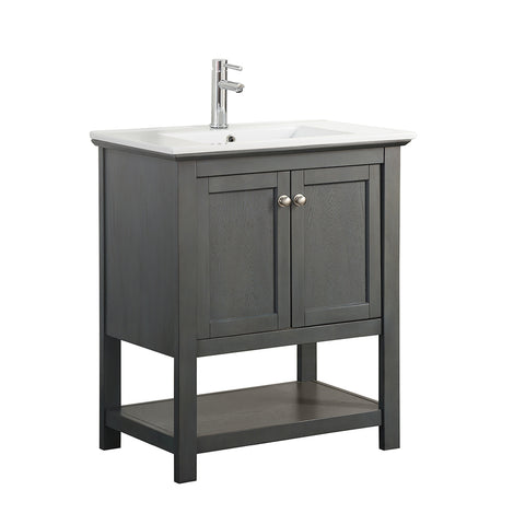 "Fresca Manchester Regal 30"" Gray Wood Veneer Traditional Bathroom Vanity"