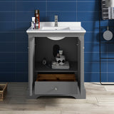 "Fresca Windsor 30"" Gray Textured Traditional Bathroom Cabinet w/ Top  Sink 
