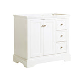 "Fresca Windsor 36"" Matte White Traditional Bathroom Cabinet 