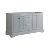 "Fresca Windsor 60"" Gray Textured Traditional Double Sink Bathroom Cabinet 