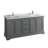 "Fresca Windsor 72"" Gray Textured Traditional Double Sink Bathroom Cabinet w/ Top  Sinks 