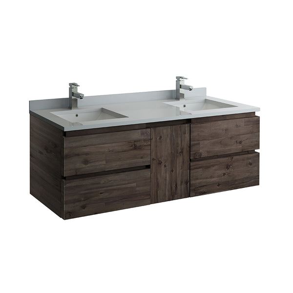 "Fresca Formosa 60"" Wall Hung Double Sink Modern Bathroom Cabinet w/ Top  Sinks 