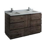 "Fresca Formosa 60"" Floor Standing Double Sink Modern Bathroom Cabinet w/ Top  Sinks 