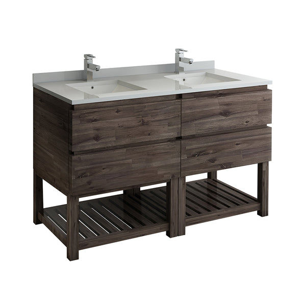 "Fresca Formosa 58"" Floor Standing Open Bottom Double Sink Modern Bathroom Cabinet 