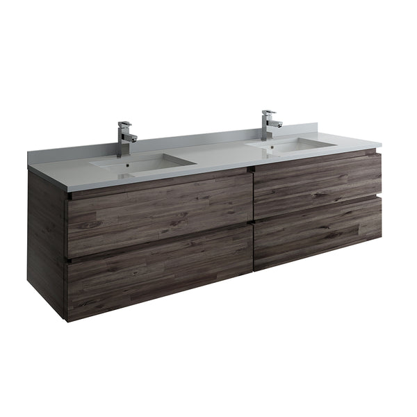 "Fresca Formosa 72"" Wall Hung Double Sink Modern Bathroom Cabinet w/ Top  Sinks 