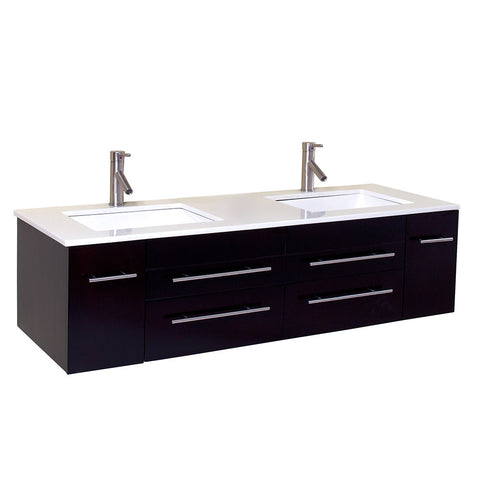 "Fresca Bellezza 59"" Natural Wood Modern Double Vessel Sink Cabinet w/ Top & Sinks"