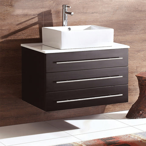 "Fresca Modello 32"" Modern Bathroom Cabinet w/ Top & Vessel Sink"