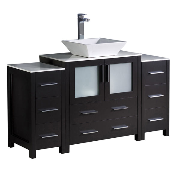"Fresca Torino 54"" Modern Bathroom Cabinets w/ Top & Vessel Sink"