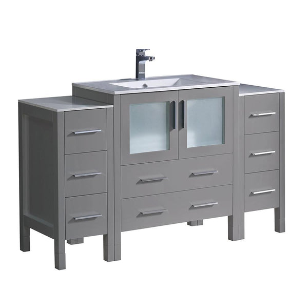 "Fresca Torino 54"" Gray Modern Bathroom Cabinets w/ Integrated Sink"