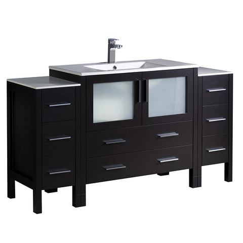 "Fresca Torino 60"" Modern Bathroom Cabinets w/ Integrated Sink"