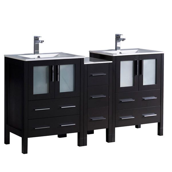 "Fresca Torino 60"" Modern Double Sink Bathroom Cabinets w/ Integrated Sinks"