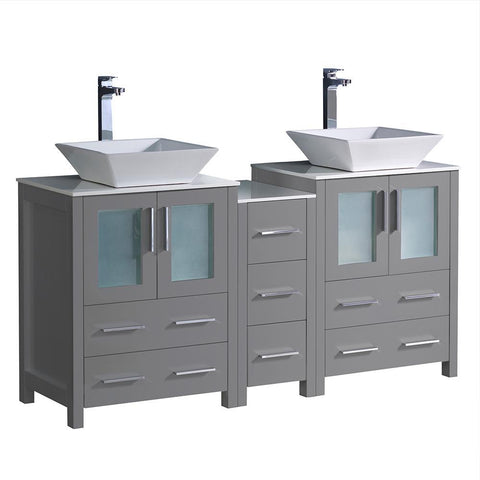 "Fresca Torino 60"" Gray Modern Double Sink Bathroom Cabinets w/ Tops"
