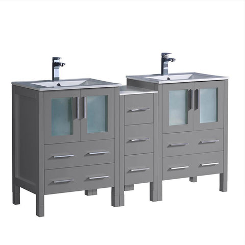 "Fresca Torino 60"" Gray Modern Double Sink Bathroom Cabinets w/ Integrated Sinks"