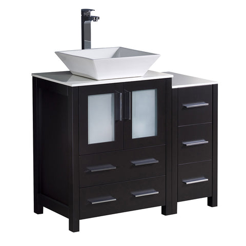 "Fresca Torino 36"" Modern Bathroom Cabinets w/ Top & Vessel Sink"