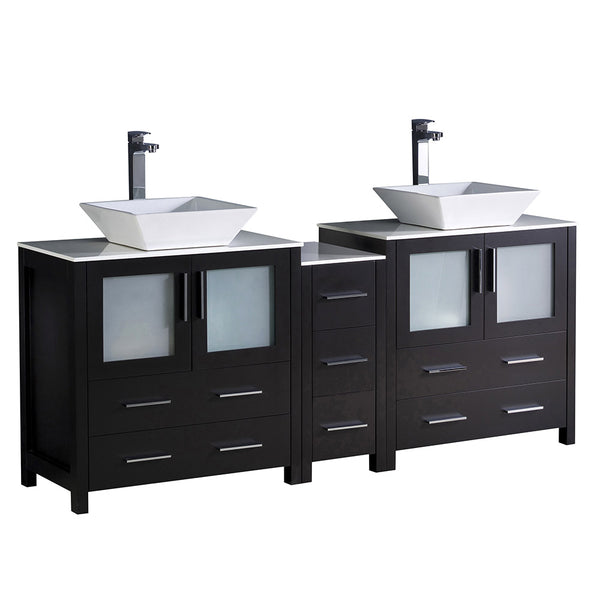 "Fresca Torino 72"" Modern Double Sink Bathroom Cabinets w/ Tops & Vessel Sinks"