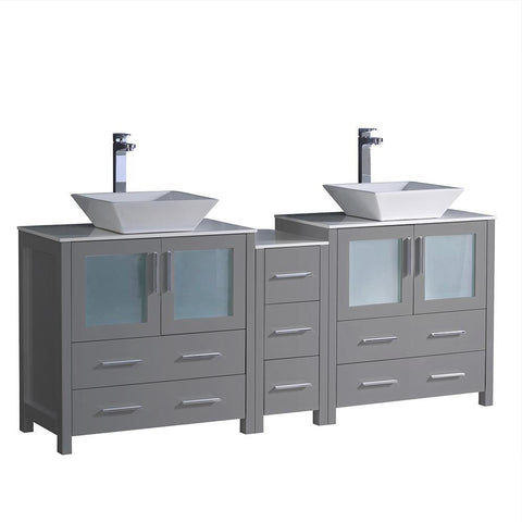 "Fresca Torino 72"" Gray Double Sink Bathroom Cabinets w/ Tops & Vessel Sinks"