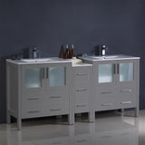 "Fresca Torino 72"" Modern Double Sink Bathroom Cabinets w/ Integrated Sinks"