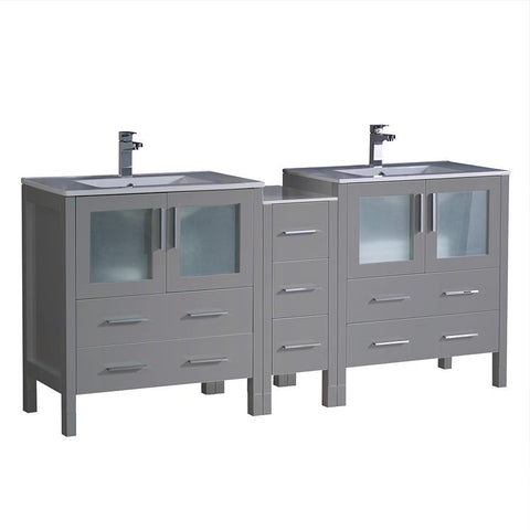 "Fresca Torino 72"" Gray Double Sink Bathroom Cabinets w/ Integrated Sinks"