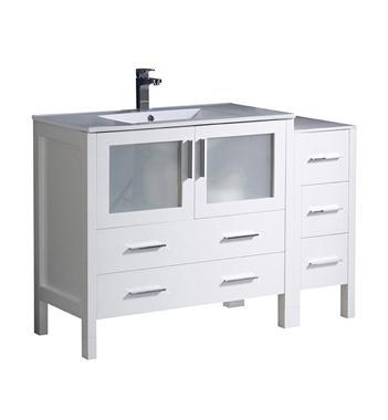 "Fresca Torino 48"" White Modern Bathroom Cabinets w/ Integrated Sink"