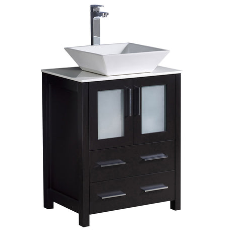 "Fresca Torino 24"" Modern Bathroom Cabinet w/ Top &Vessel Sink"