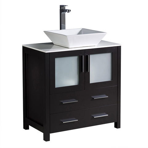 "Fresca Torino 30"" Modern Bathroom Cabinet w/ Top & Vessel Sink"