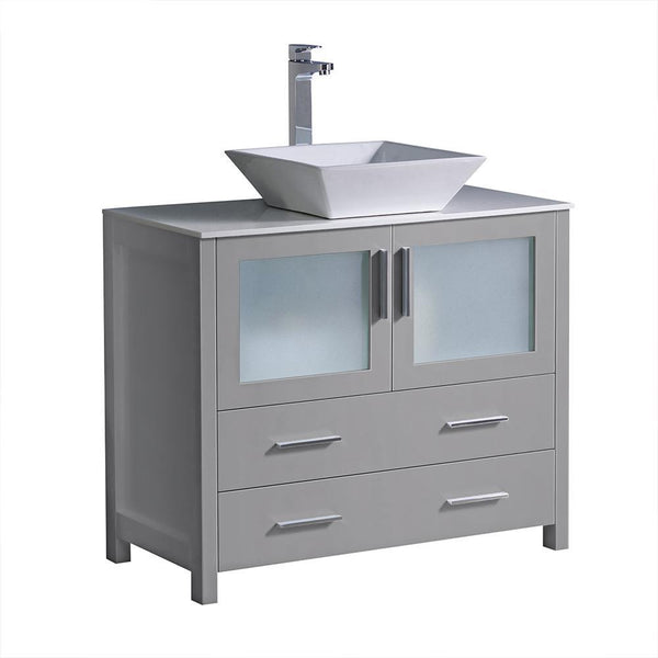 "Fresca Torino 36"" Gray Modern Bathroom Cabinet w/ Vessel Sink"