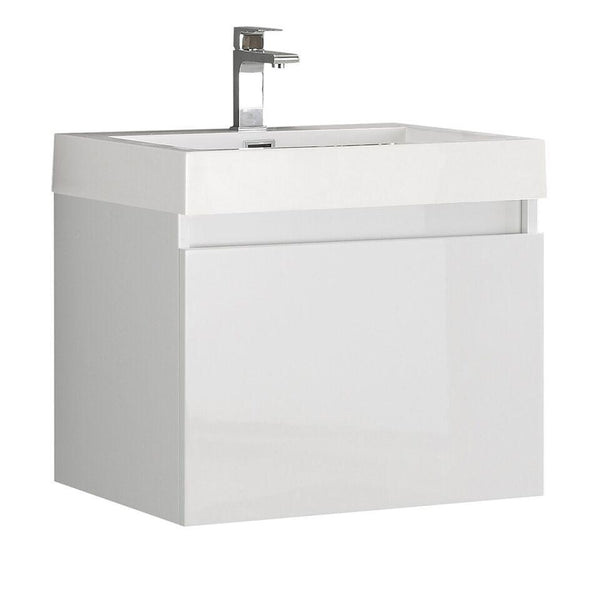 "Fresca Nano 24"" White Modern Bathroom Cabinet w/ Integrated Sink"