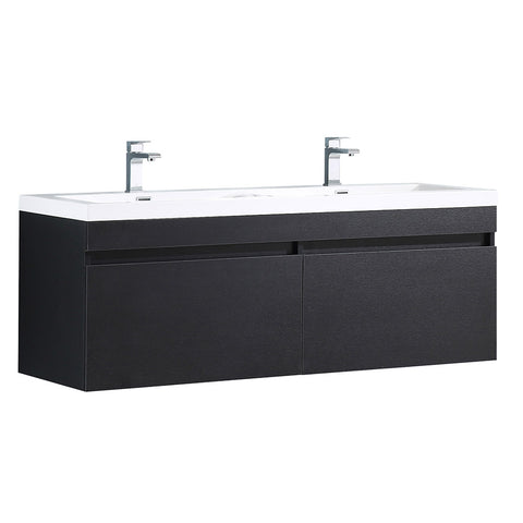 "Fresca Largo 57"" Modern Bathroom Cabinet w/ Integrated Sinks"