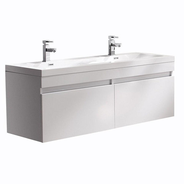 "Fresca Largo 57"" White Modern Double Sink Bathroom Cabinet w/ Integrated Sinks"