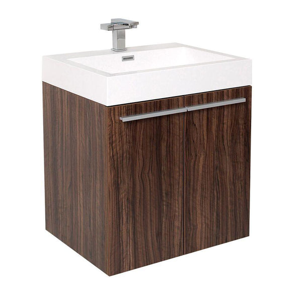 "Fresca Alto 23"" Walnut Modern Bathroom Cabinet w/ Integrated Sink"