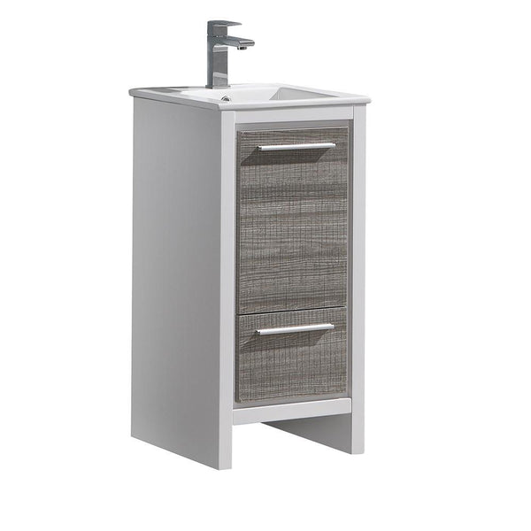 "Fresca Allier Rio 16"" Ash Gray Modern Bathroom Cabinet w/ Sink"