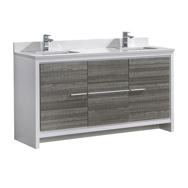 "Fresca Allier Rio 60"" Ash Gray Double Sink Modern Bathroom Cabinet w/ Top & Sinks"