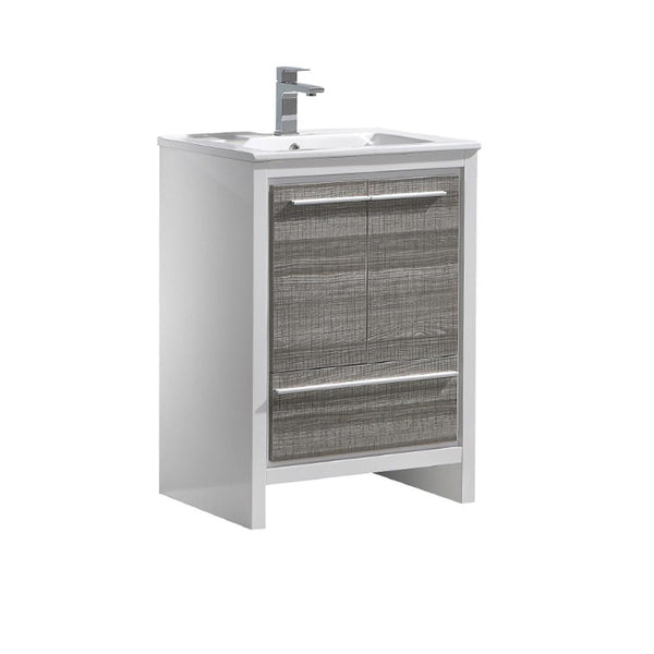 "Fresca Allier Rio 24"" Ash Gray Modern Bathroom Cabinet w/ Sink"