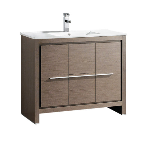 "Fresca Allier 40"" Gray Oak Modern Bathroom Cabinet w/ Sink"