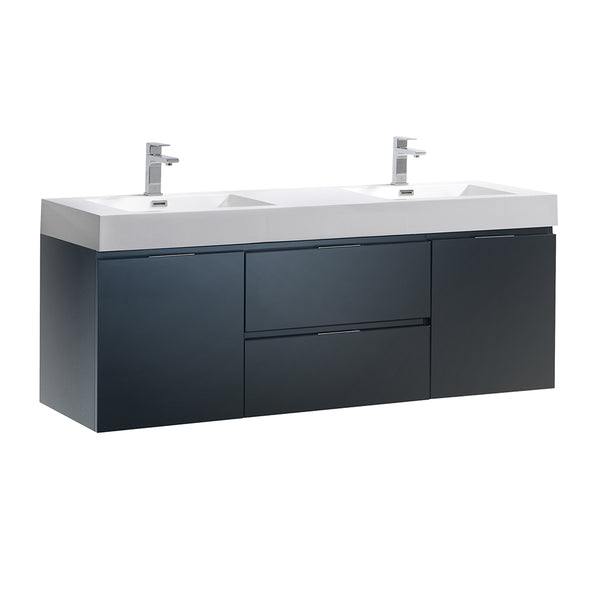 "Fresca Valencia 60"" Wall Hung Double Sink Modern Bathroom Vanity"