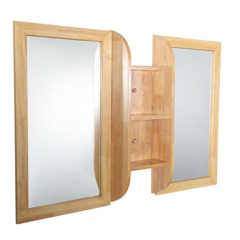 "Fresca Bellezza 54"" Natural Wood Mirrors with Shelf Combination"