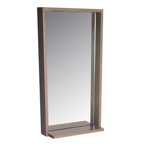 "Fresca Allier 16"" Gray Oak Mirror with Shelf"