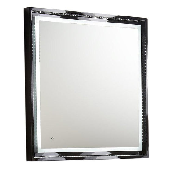 "Fresca Platinum Wave 32"" Glossy Black Bathroom Mirror w/ LED Lighting"
