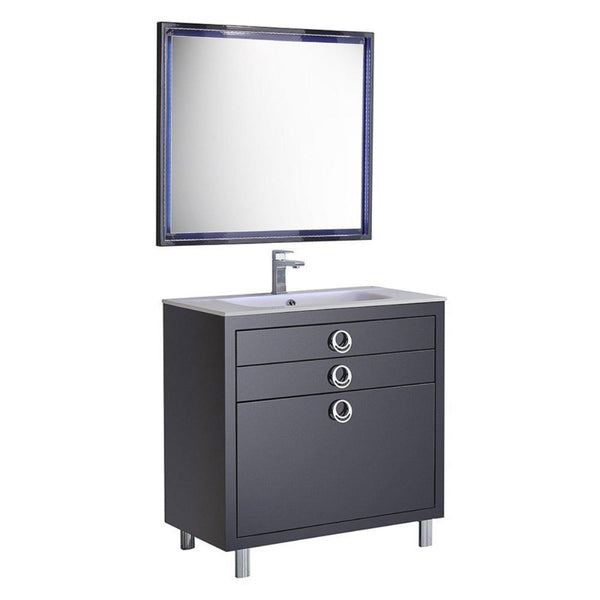 "Fresca Platinum Due 36"" Glossy Cobalt Bathroom Vanity"