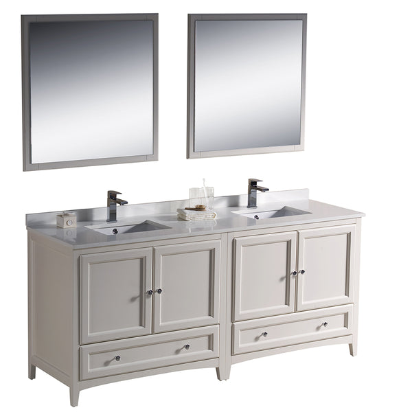 "Fresca Oxford 72"" Traditional Double Sink Bathroom Vanity"